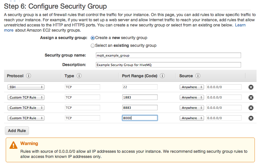 AWS MQTT Security Group Settings
